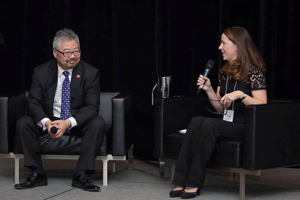 photo of Dr. Lori MacCallum interviewing Dr. Ross Tsuyuki