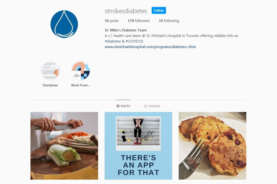 Photo of new diabetes Instagram account launched by St. Michael's Hospital